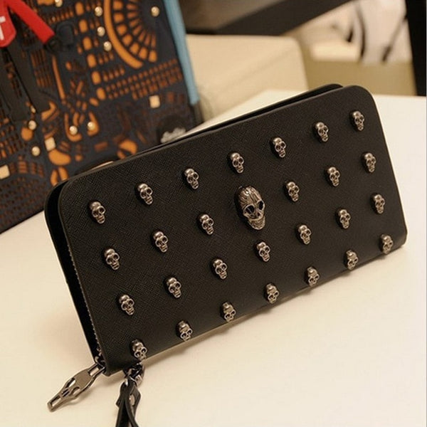 Man leather bag High Quality Skull Wallet Personality Clutch Bags Rivets PU Leather Purse Zipper Card Holder Punk Wallets H006 - Merla's Vault