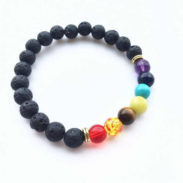Black Lava Rock 8mm Beads 7 Chakra Healing Balance Bracelet for Men Women Reiki Prayer Stone Yoga Chakra Bracelet Drop Shipping - Merla's Vault