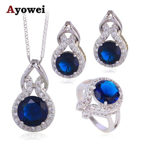 Summer Style Saphire Blue Zircon Silver Stamped Zirconia Fashion Jewelry Set Wedding Crystal Earrings Necklace Ring JS628A