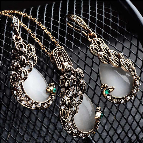 SHUANGR Pendientes Austrian Crystal Circle Opal Peacock Jewelry Sets Peacocks Necklace Drop Earrings Set For Women Gift joyeria