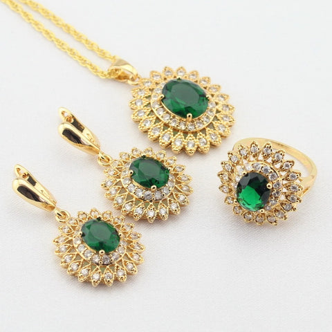 WPAITKYS Gold Color Jewelry Sets For Women Flower Green Created Emerald White CZ Earrings Necklace Pendant Rings Free Gift Box