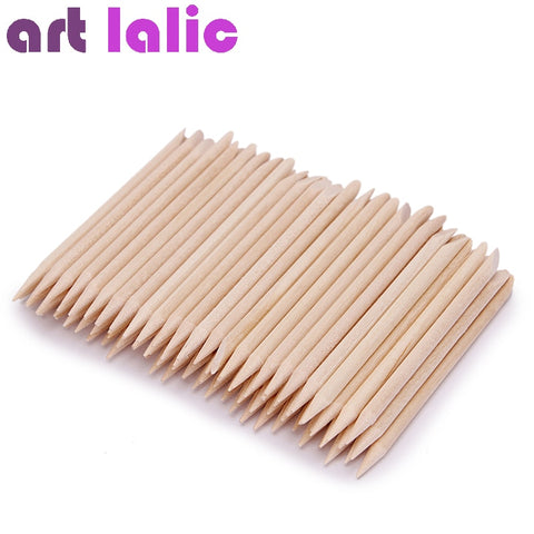 100 Pcs Nail Art Design Orange Wood Stick Sticks Cuticle Pusher Remover Manicure Pedicure Care - Candid Lady