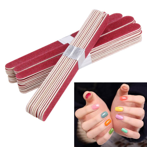 40pcs Nail File Manicure Pedicure Buffer Sanding Files Wood Crescent Sandpaper Grit Nail Art Tool Double Sided Thick Stick - Candid Lady