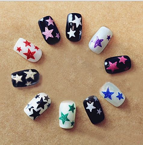 1 Sheet Beauty Glitter Shiny Stars Adhesive Hot Stamping 3D Nail Stickers Decals For Nail Art Tips Decorations Tools SANC132 - Candid Lady