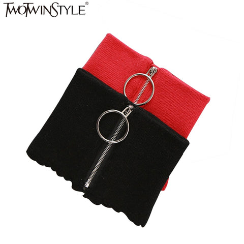 [TWOTWINSTYLE] 2016 Winter Circular Zipper 100% Wool Knit Warm Ring Choker Scarf Women 4 Color New Fashion