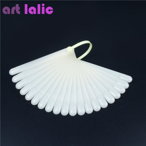 Art lalic 20Pcs False Nail Art Board Tip Stick Polish Gel Foldable Display Beauty Practice Fan Clear Natural Fake Nails
