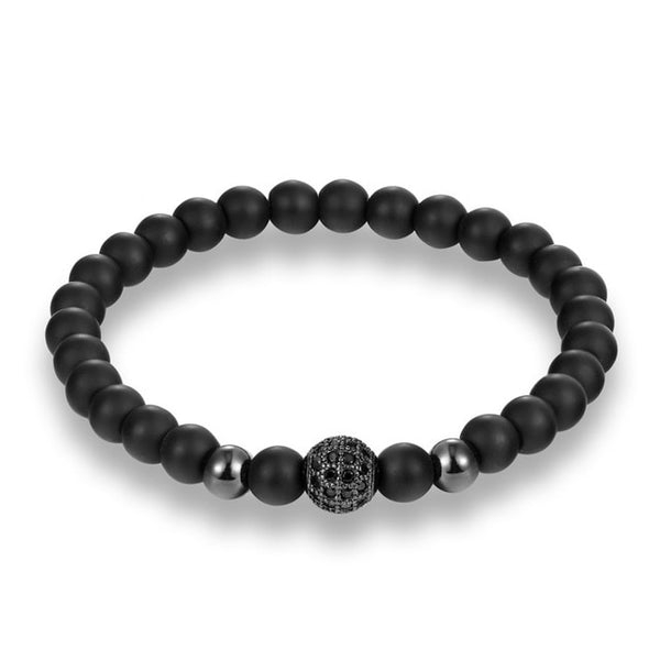 MKENDN Fashion Black CZ Ball Men Bracelet Natural Stone Matte Beads Charm Bracelets Men Jewelry Yoga pulsera hombres - Merla's Vault