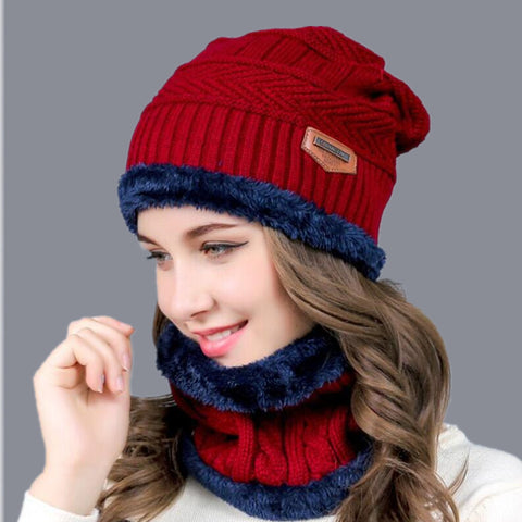 2017 Hot Balaclava Knitted hat scarf cap neck warmer Winter Hats For Men women skullies beanies super warm Fleece mask dad cap - Candid Lady