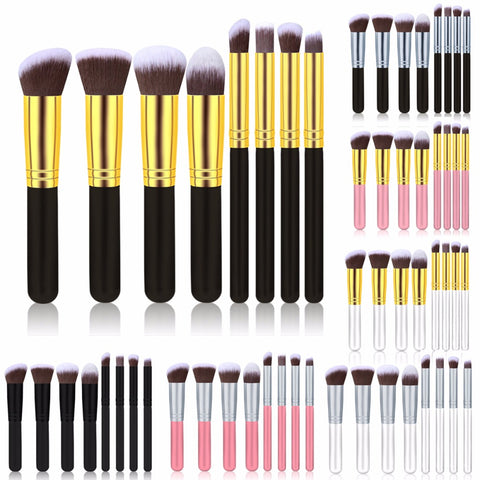 Fulljion 4/8pcs/set Makeup Brushes Set Blush Brushes Wood Handle Synthetic Hair Cosmetic Powder Kabuki Makeup Tools  7 Colors