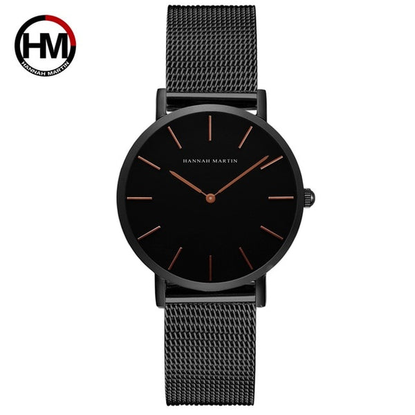 Japan Quartz Movement High Quality 36mm hannah Martin Women Stainless Steel Mesh Rose Gold Waterproof Ladies Watch Dropshipping - Merla's Vault
