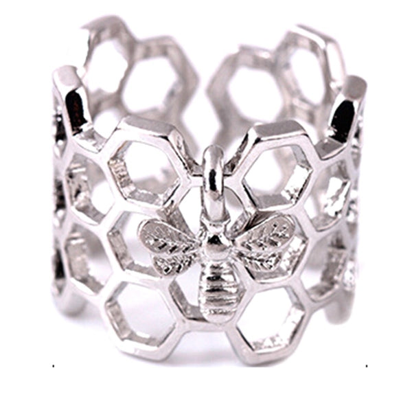 Bee Adjustable Open Hexagon Stainless Steel Ladies Rings Gold Color Honeycomb Unique Gift For Women Party Jewelry Bague Femme - Merla's Vault