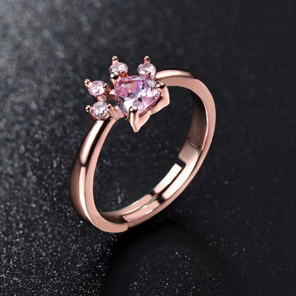 Cute Bear Paw Cat Claw Opening Adjustable Ring Rose Gold Rings for Women Romantic Wedding Pink Crystal CZ Love Gifts Jewelry - Merla's Vault