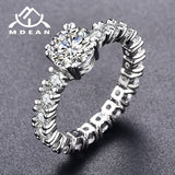 MDEAN White Gold Color Engagement Rings For Women White AAA Zircon Jewelry Fashion Women Wedding Ring Size 5-12 H373 - Merla's Vault