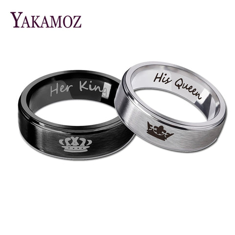 YAKAMOZ Fashion Stainless Steel Couple Rings Black Crown Her King His Queen Couple Jewelry Anniversary Valentine's Day Gifts
