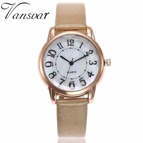Drop Shipping Women Simple Dial Wristwatches Casual Fashion Luxury Leather Strap Quartz Watches Clock Relogio Feminino - Merla's Vault