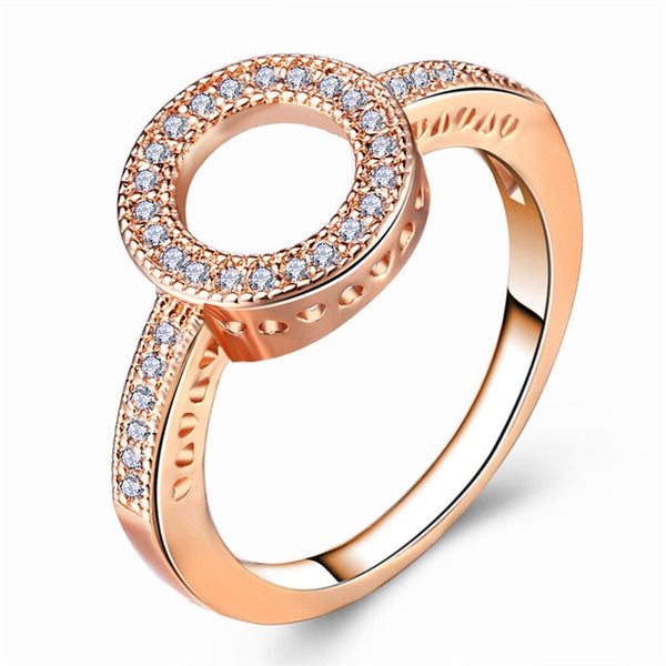 17KM Fashion Female Round Finger Rings For Women Lover Wedding Jewelry Party Trendy Rose Gold Sliver Color Ring Wholesale - Candid Lady