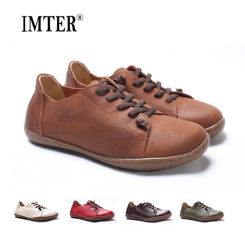 (35-46)Women Shoes Flat 100% Authentic Leather Plain toe Lace up Ladies Shoes Flats Woman Moccasins Female Footwear (5188-6) - Candid Lady
