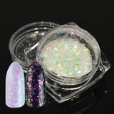 1 Bottle Holographic Paillette Nail Glitter Powder Chameleon Sparkly Broken Glass 3d Colorful Nail Decor Tips Manicure SASH01-06 - Candid Lady