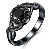 MDEAN Black Gold Color Wedding Rings Fashion Engagement black AAA for Women Zircon Jewelry Bijoux Bague Size 6 7 8 9 10 H465 - Merla's Vault