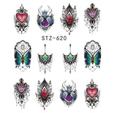 Full Beauty 1pcs Gorgeous Necklace Black Red Blue Sticker Nail Art Tattoos Water Nails Designs for Nail Sticker CHSTZ620-657