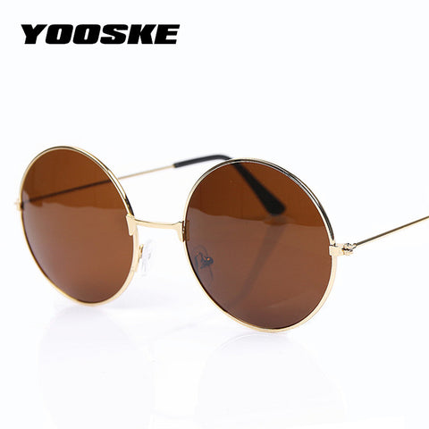 YOOSKE Vintage Round Sunglasses For Women Men Brand Designer Mirrored Glasses Retro Female Male Sun Glasses Men's Women's