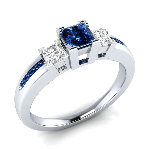 925 Sterling Silver Princess Cut Blue & White Sapphire Engagement Ring - Candid Lady
