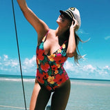 2018 Sexy One Piece Swimsuit Hollow Out Swimwear Women Monokini Print Bodysuit Bandage Brazilian Vintage Bathing Suit Beach Wear - Candid Lady