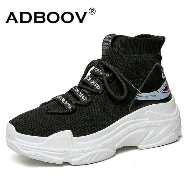 ADBOOV Shark Logo High Top Sneakers Women Knit Upper Breathable Sock Shoes Thick Sole 5 CM Fashion sapato feminino Black / White - Candid Lady