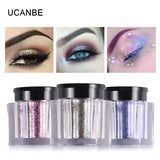 UCANBE Glitter Eye Shadow 8 Colors Loose Powder Pigments Diamond Shine Eyeshadow Waterproof Makeup Metallic Crystal Nude Powder