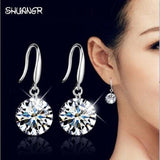 SHUANGR Silver Plated crystal women earrings long earrings fashion Drop earrings charming fashion jewelry