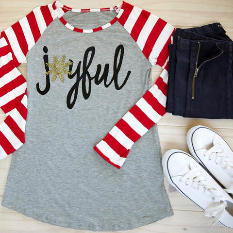 2017 Christmas Women T Shirt Snowflake Joyful Striped Letter Print Long Raglan Sleeve Baseball T-Shirt Casual Loose Ladies Tops - Candid Lady