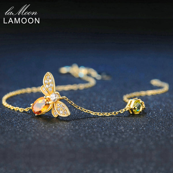 LAMOON Bee 5X7mm 100% Natural Oval Citrine 925 Sterling Silver Jewelry Gold-color Chain Charm Bracelet S925 LMHI002 - Merla's Vault