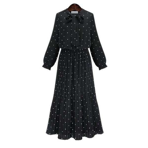 [EAM] 2018 New Autumn Round Neck Long Sleeve Solid Black Chiffon Dot Loose Big Size Dress Women Fashion Tide JA23601M