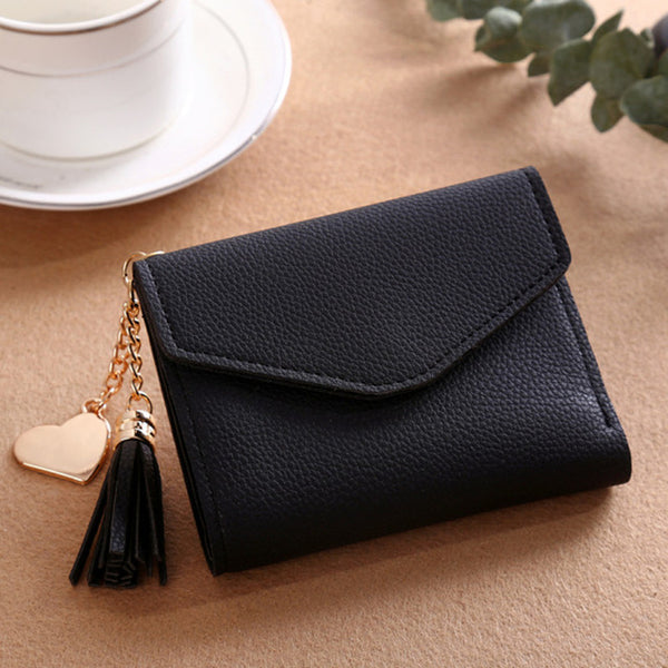 2018 fashion solid tassel women wallet for credit cards small luxury brand leather short womens wallets and purses zipper&hasp - Candid Lady