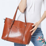 Fashion Women Handbags Oil Wax PU Leather Large Capacity Tote Bag Casual Travel Bag - Merla's Vault