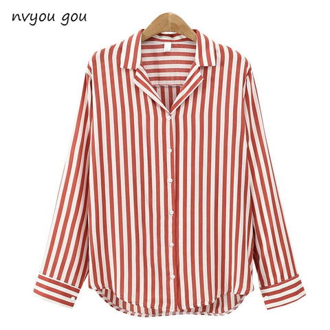 2018  New Spring Autumn Women Blouse Flower V-Neck Long Sleeve Work Shirts Women office Tops Striped blouse for business - Candid Lady