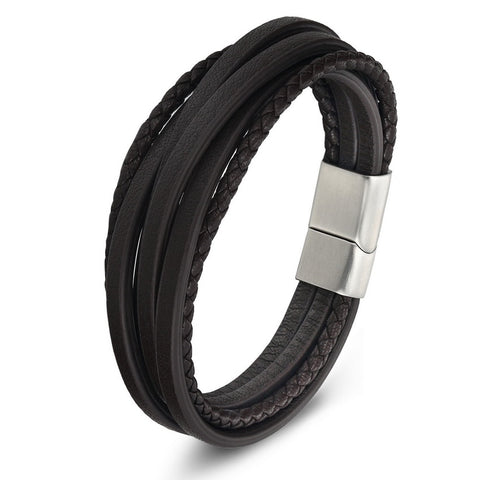 XQNI Multi-layer Stainless Steel Buckle Black/Brown Genuine Leather Bracelet For Men Women Classic Design For Surprise Gift