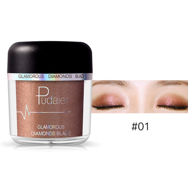 Glitter Eyeshadow Powder Pigments Eye Shadow Easy to Wear Waterproof Shimmer Cosmetics Powder Make Up Single Metallic Color 2018