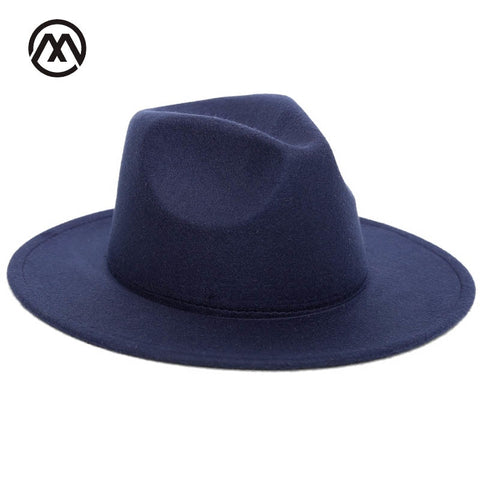 2018 Autumn Winter Womens Felt Hat Fedoras Big Brim Hats For Women British Style Vintage Church Hats Lady Flat Brim Fedoras - Candid Lady