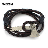 2017 Newest Vintage Personalized AX Hatchet Charm Punk Leather Bracelet For Women Men Accessories Birthday Gift Free Shipping - Candid Lady