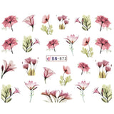 1pcs Daisy  Lavender Water Nail Sticker Flower Leaf Design Slider DIY Nail Art Decal Charms Foils Tips Decoration SABN871-876 - Candid Lady