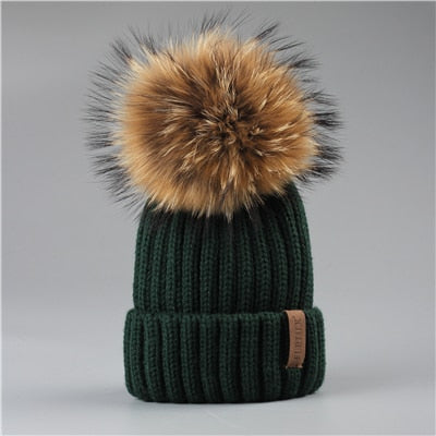 FURTALK Winter Pompom hat for Kids Ages 2-7 Knit Beanie winter baby hat for children fur Pom Pom Hats for girls and boys
