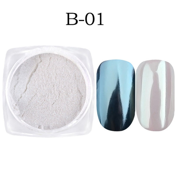 1g Nail Art Glitter Chrome Pigment Decorations Magic Mirror Nail Glitter Powder Gold Blue Purple Dust Manicure SAB01-07 - Candid Lady