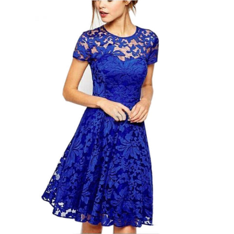2018 Fashion Women Summer Sweet Hallow Out Lace Dress Sexy Party Princess Slim Dresses Vestidos Red Blue 5XL Plus Size Sundress - Candid Lady