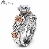 2pcs Set Crystal Wedding Rings Rhinestone Love Rings for Women Infinity Rose Flower Ring Full Size anillos mujer Silver Color - Candid Lady