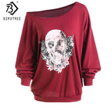 Europe and America Christmas Ugly Women T-shirts Skeleton Sexy Off Shoulder Shirt Halloween Pumpkin Devil Pullovers Tops T7N149A - Merla's Vault