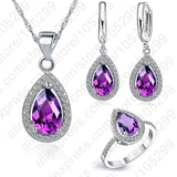 JEXXI Free Ship Purple Jewelry Sets Water Drop Cubic Zirconia CZ Stone 925 Sterling Silver Earrings Necklaces Finger Rings - Merla's Vault