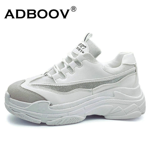 ADBOOV  Plus Size 35-43 Platform Shoes Women Fashion Glitter Sneakers Women Thick Sole Chunky Shoes PU Leather Upper Dad Shoes - Candid Lady