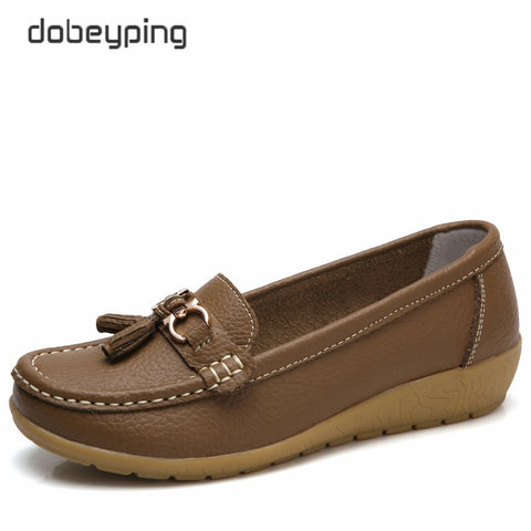 dobeyping 2018 New Arrival Shoes Woman Genuine Leather Women Flats Slip On Women's Loafers Female Moccasins Shoe Plus Size 35-44
