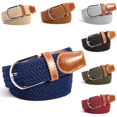 Unisex Canvas Woven Leather Pin Buckle Elastic Waist Belt Men Women Waistband